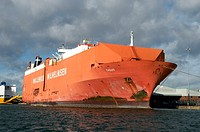 mv Tagus of the Wallenius Wilhelmsen group laid up alongside in Southampton Docks, Hampshire, England due to the downturn in the international automob...