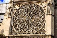 france, paris, Notre Dame, façade sud : rose