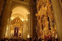 Interior of the Iglesia Colegial del Divino Salvador. El Divino Salvador Collegiate Church. View of the lateral nave with the altarpiece of Cristo del...