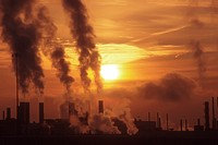 Detroit, Michigan - Emissions at dawn from Chrysler´s Jefferson North Assembly Plant