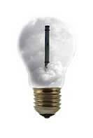 Chimney covered in smoke inside incandescent lamp / bulb against white background