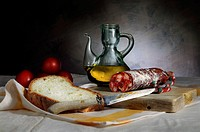 Still Life with chorizo sausage, oil and bread, Bodegón con chorizo, aceite y pan