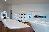 The future kitchen is made of Corian registered trademark of DuPont, a blend of natural minerals and acrylic polymer that can be carved into many shap...