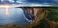 The cliffs of Nash Point on the Glamorgan Heritage Coast in South Wales at sunset