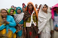 Hindu pilgrims during the annual Gangasagar mela in West Bengal.