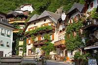 Houses around the market square  Hallstatt village, Salzkammergut, Austria