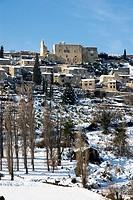Provence village under snow Crestet