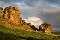 Clouds Clearing Over Cow and Calf Rocks Ilkley Moor West Yorkshire England