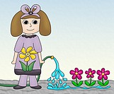 Young girl watering garden flowers with a hose