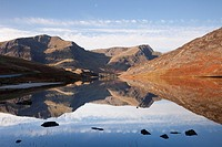Ogwen Valley Gwynedd North Wales UK Europe  November Still water of Llyn Ogwen lake reflecting Y Garn and Foel Goch mountains in Snowdonia National Pa...