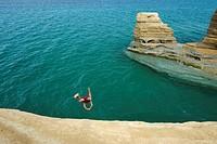 Cliff diving near Sidari village  Corfu, Greece