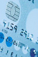 Close up of chip and pin technology on credit card