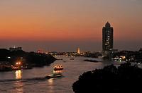 view north along Chao Phraya River from Chinatown area, Bangkok, Thailand