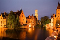 River Dijver and The Belfort at Dusk Bruges Belgium