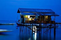 Sabah Malaysia, Borneo, Mabul Island  Water village on Mabul Island near Sipadan, viewed at dusk