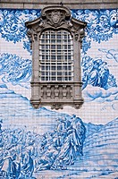 azulejos typical earthenware tiles on an outside wall of do Carmo churh 18th c Porto Portugal
