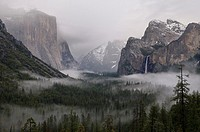 Clouds and fog in Yosemite Valley after a winter rain storm seen from Tunnel View