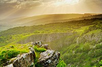 View of Cheddar Gorge on the edge of the Mendip Hills in Somerset, England, United Kingdom