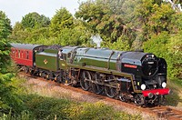 The Oliver Cromwell steam train on the Suffolk line in Beccles Suffolk Uk in 2009