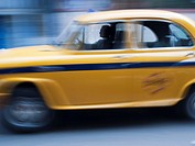Driver in a taxicab in Calcutta, West Bengal, India