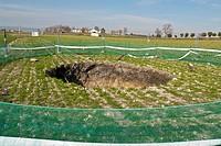 Land cave-in in the aquifer 23, Daimiel, Ciudad Real province, Castilla-La Mancha, Spain