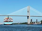 Maersk Line container ship passing beneath Talmadge Memorial Bridge, Savannah River, Savannah, Georgia