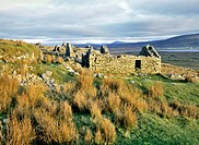 The ruins of the village of Slievemore on Achill Island, County Mayo, Ireland  Deserted in the years of the Great famine