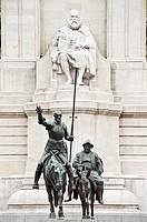 Cervantes monument in the Plaza de Espana, Madrid, Spain