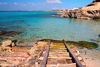 The pier of Es Caló des Mort in the island of Formentera Baleares, Spain