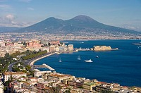 Europe, Italy, Naples, cityscape, vesuvius, castel dell ovo
