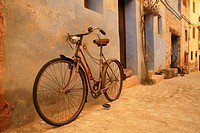 Bike on street, Valderrobres, Matarraña, Teruel province, Aragon, Spain