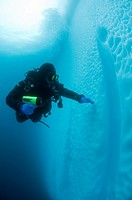 Antarctic peninsula diver and iceberg underwater