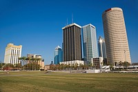Skyscrapers at downtown Tampa seen from Curtis Hixon Waterfront Park