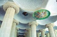 Hypostyle hall, Park Güell Gaudí, 1900-1914, Barcelona, Catalonia, Spain