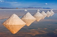Salt cones, Salar de Uyuni at sunset, Potosi, Bolivia