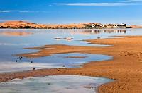 Morocco Erfoud Erg Chebbi with lake and hotel
