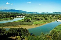 Arno River and Chiana River at Ponte Buriano, Ponte Buriano, Arezzo, Tuscany, Italy , Europe