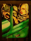 Autorretrato en automóvil. Tamara de Lempicka oil painting. Palacio de Bellas Artes. Mexico City.