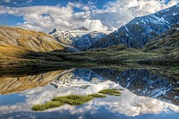 Mt Tyndall, reflection in tarn, Cascade Saddle, Mount Aspiring National Park, Otago, New Zealand (January 2010)