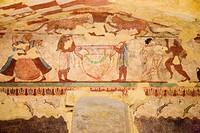 europe, italy, lazio, tarquinia, necropolis of monte calvario, tomb of the lioness, around 520 BC