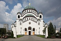 Serbia,Beograd,Belgrade,St Sava Cathedral,1935,Orthodox,christian,religious,exterior,outside,facade,colour,cupolas