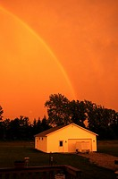 A double rainbow at sunset in Amherst, Ohio, USA