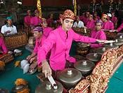Indonesia, Bali, Mas, temple festival, gamelan musicians, odalan, Kuningan holiday,