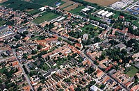 aerial views of Hungary´s cultural heritage: the city of Bonyhád, town centre
