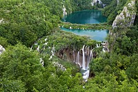 The Plitvice Lakes in the National Park Plitvicka Jezera in Croatia  The lower lakes  The Plitvice Lakes are a string of lakes connected by waterfalls...