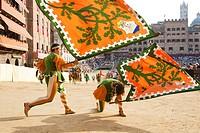 contrada of the woods, historical parade, palio of siena, siena, tuscany, italy, europe contrada della selva, corteo storico, palio di siena, siena, t...