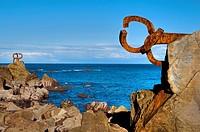"""Sculpture by Eduardo Chillida """"El Peine del Viento"""", San Sebastián, Guipuzcoa, Basque Country, Spain"""
