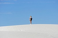 Female Hiker at White Sands National Monument New Mexico