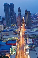 Shopping malls, commercial high rise buildings and residential housing in Mandaluyong City  metro manila  philippines