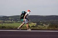 Pilgrim. Way of St. James, French Way, near Gonzar. Province of Lugo, Galicia, Spain